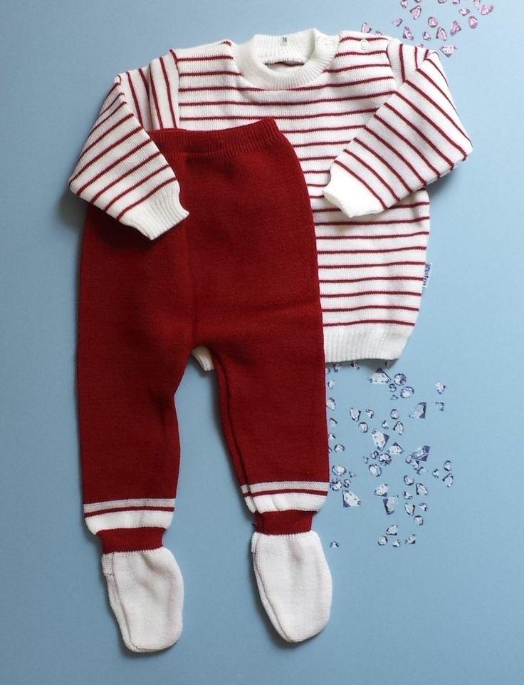 oude vintage babykleren voor baby jongen meisje 6 maanden bretons streepj voor baby reborn toddler doll bordeaux rood jaren zeventig kleding door Smufje op Etsy