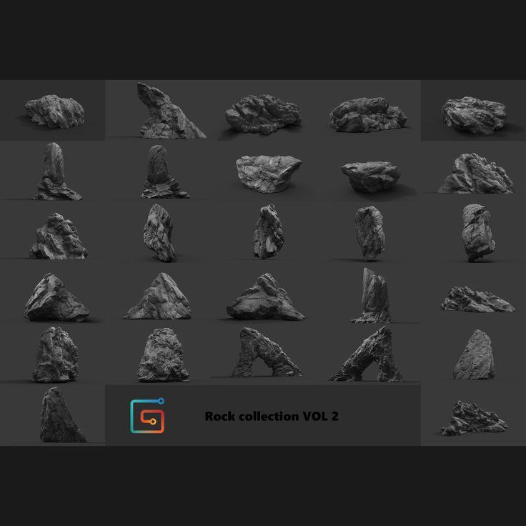 Rock Collection Vol 2 - Jungle Rocks, Alen Vejzovic on ArtStation at https://www.artstation.com/artwork/a9vBk