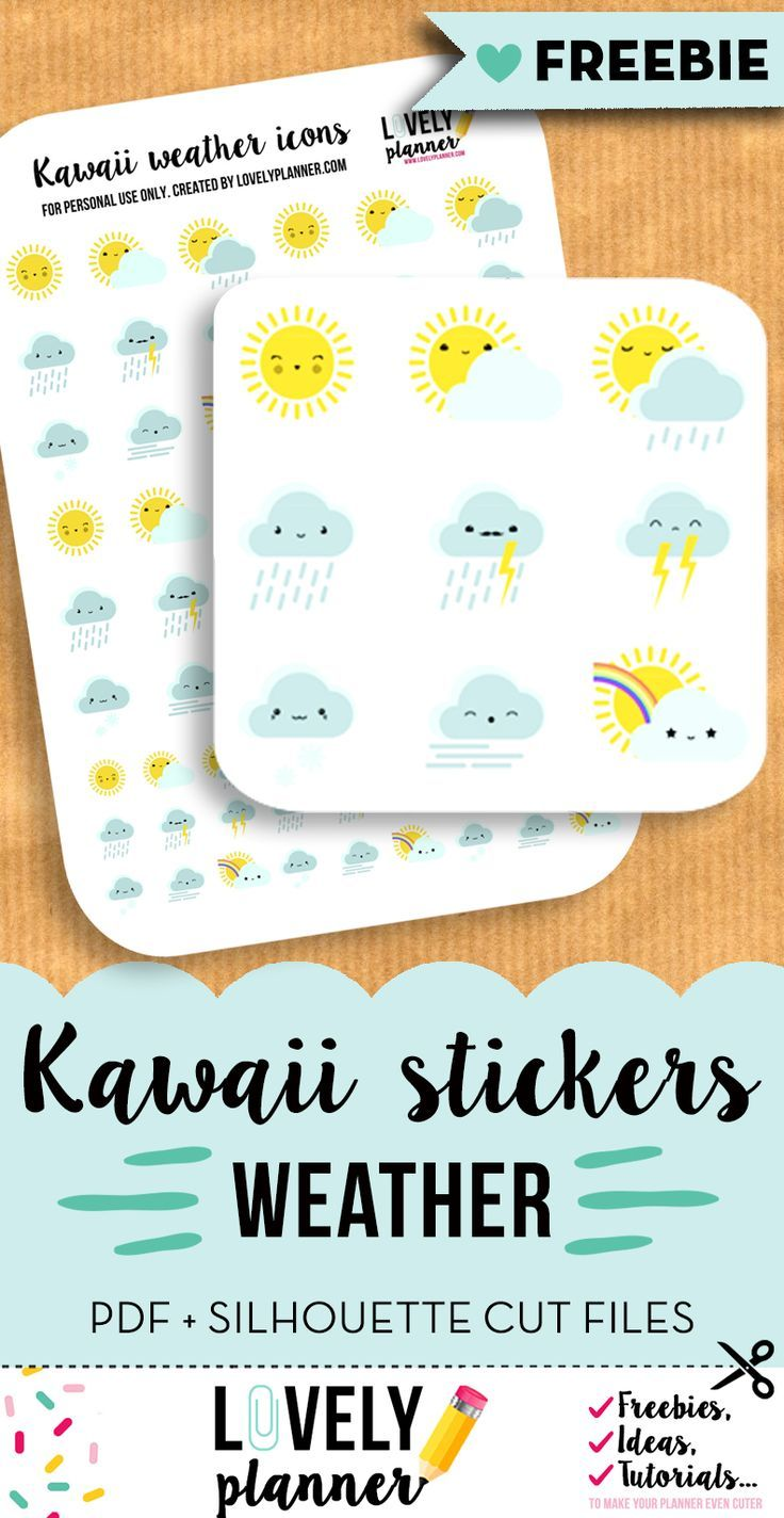 Free printable: cute weather stickers for your planner. PDF + Silhouette print and cut files. More freebies on lovelyplanner.com