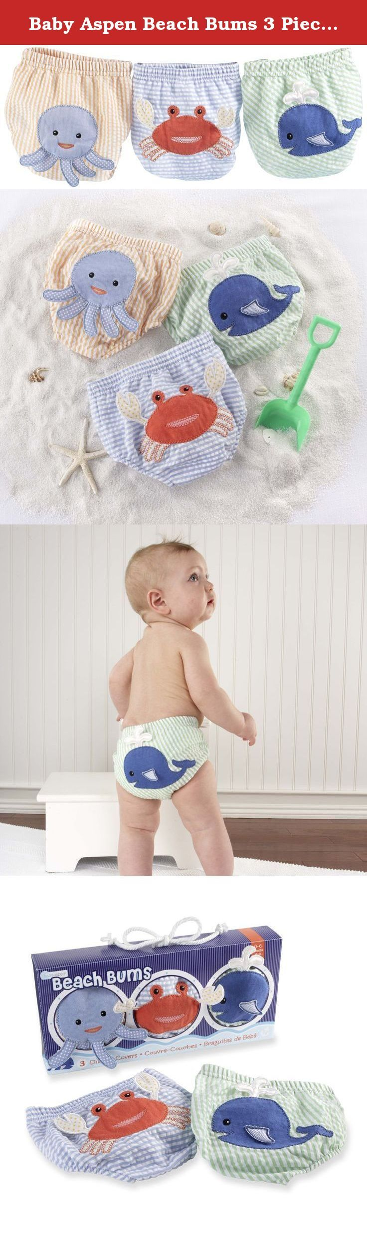 Baby Aspen Beach Bums 3 Piece Bloomers, 0-6 Months. All little beach bums want to sit by the ocean blue in style, and Baby Aspen has them covered. These three saltwater swimmers from the bottom of the sea will have a whale of a time tagging along on baby's bottom. Talk about the catch of the day. Features and facts: Sea sational diaper cover gift set includes three seersucker diaper covers. Pastel orange and white striped diaper cover has a smiling blue octopus with 3D legs on the bum;...