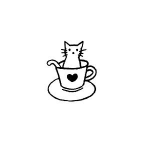 Kitty Cat Kitten in a Teacup Rubber Stamp mini