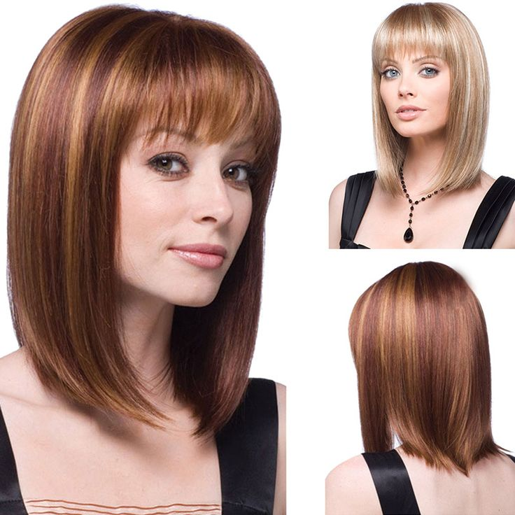 Fashion Sexy Middle Long Straight Synthetic Hair Wigs For Women Elegant Neat Bang Classic Natural Hair Wig HB88