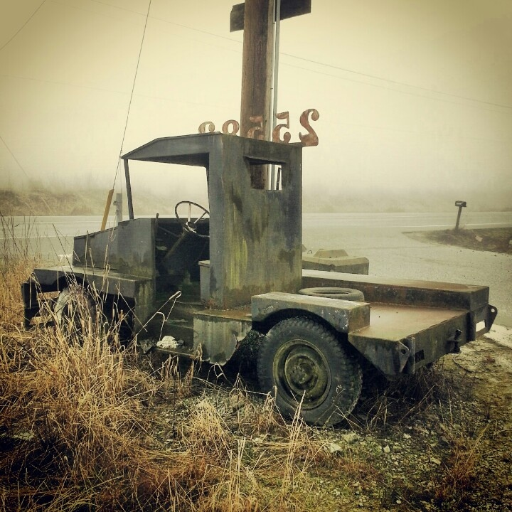 Foggy day in fort Langley. Sawmill tug