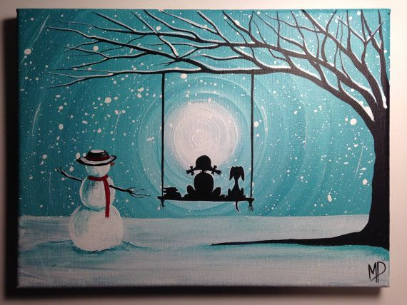 Girl and Snowman with Dog Painting What Can I See by ...