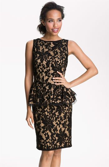 just love this....Tadashi Shoji Textured Lace Peplum Dress available at #Nordstrom