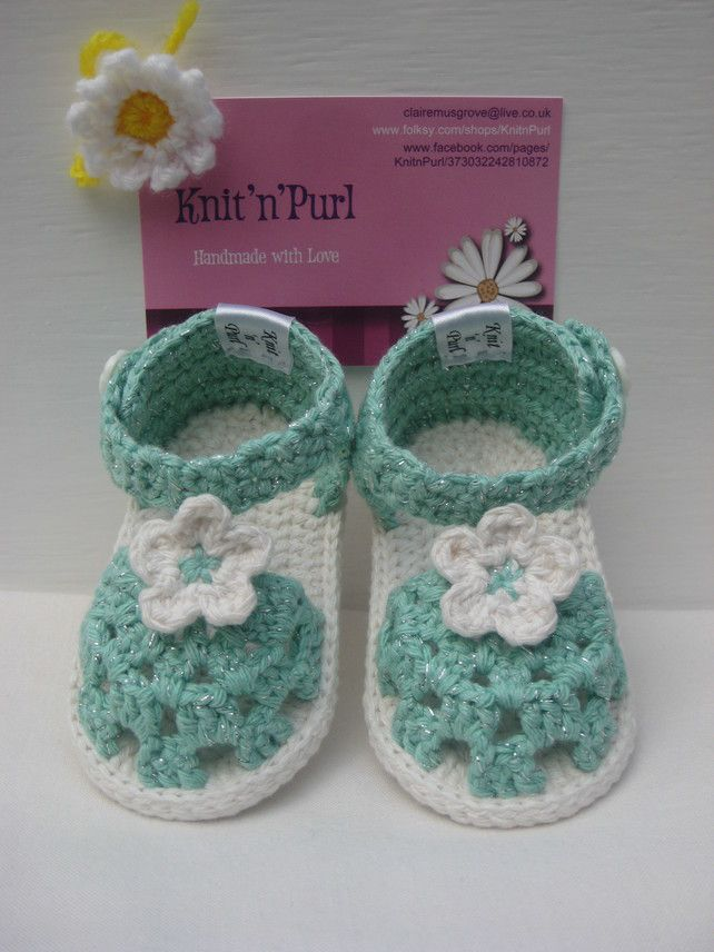 Crochet baby girl sandals - Made to Order £12.00 ♡