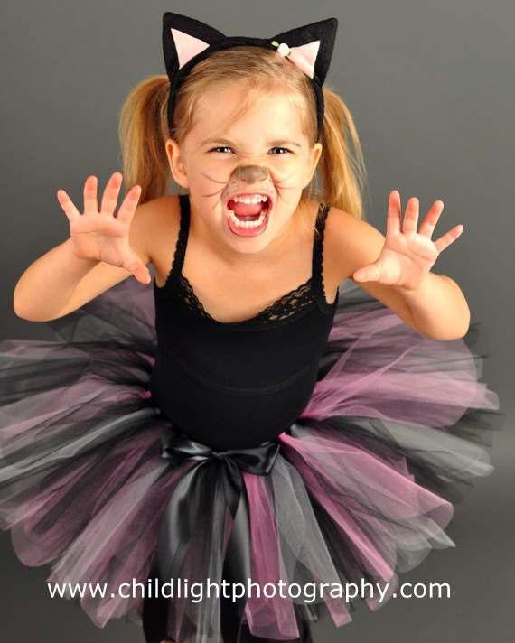 Traje de gato, niñas niño Halloween Tutu conjunto, negro y rosa, los tamaños de encargo elegir 2t, 3t y 4t - KLASSY KITTY