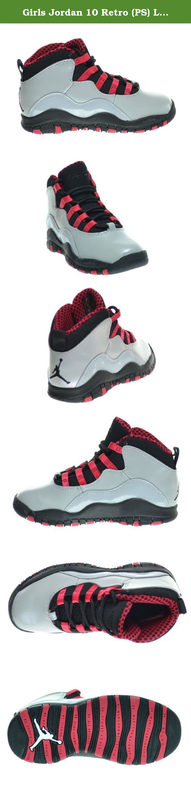 Girls Jordan 10 Retro (PS) Little Kids Basketball Shoes Wolf Grey/Black-Legion Red 487212-009. The Jordan Retro 10 (X) Shoes might remind you of the Air Jordan X. With leather upper and some suede for durability, the retro Jordan's are fairly simple and straightforward. A Jumpman logo on the back and outsole adds style, and you can't forget the outsole that lists Jordan's accomplishments.