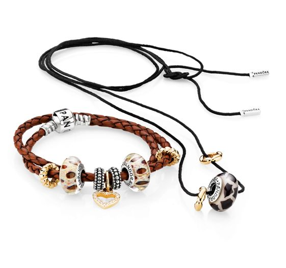 PANDORA Leather Bracelet with Leopard Murano and Gold.  Black Lariat Necklace Made With Giraffe Murano.