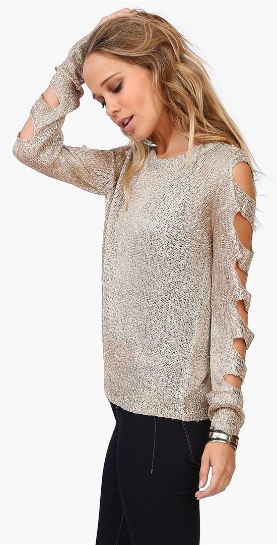 Shred Sweater in Shimmery Taupe