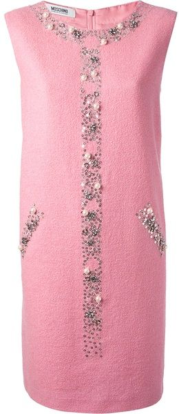 MOSCHINO CHEAP & CHIC Pink Embellished Shift Dress - Lyst