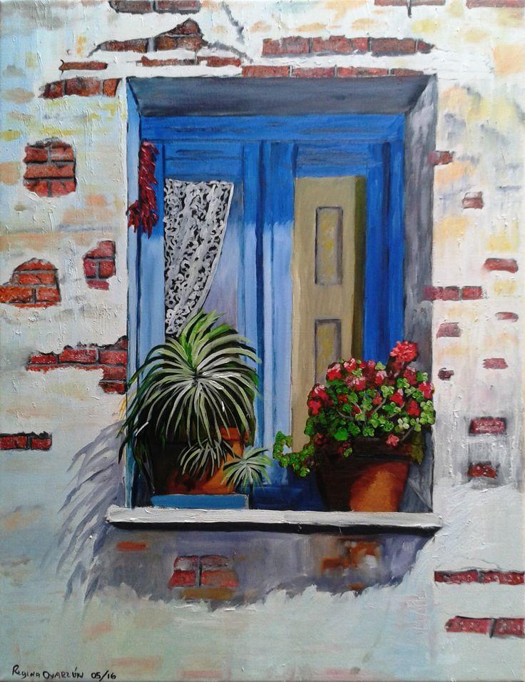 Regina Oyarzún - ventana - óleo sobre tela de 70 x 54 (réplica)