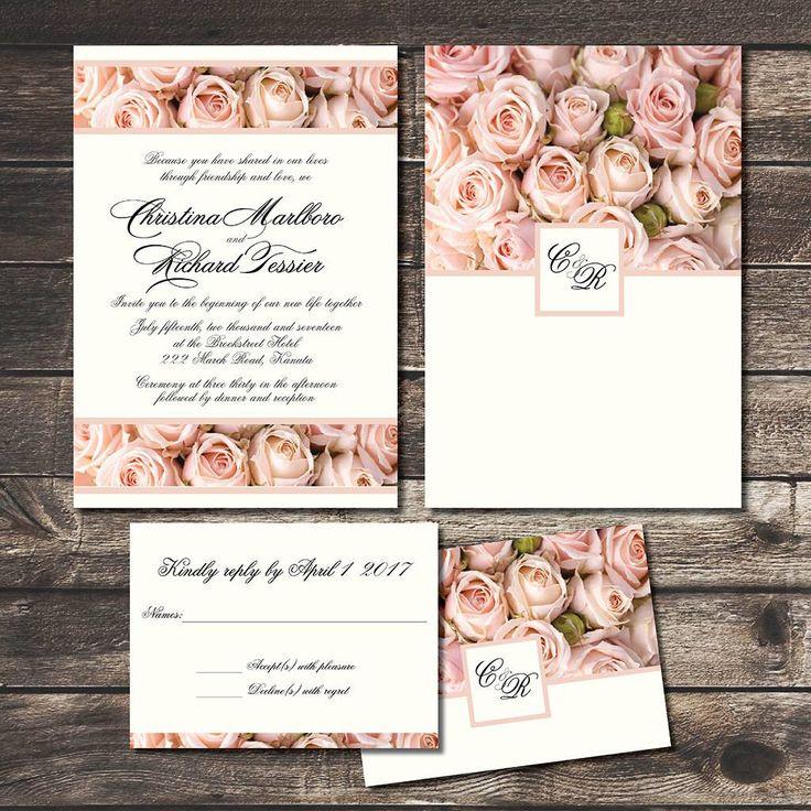 vintage blush roses wedding invitation set cottage chic country romance affordable wedding invites