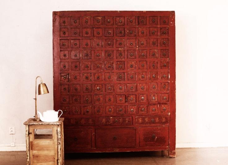 vintage Chinese medicine cabinet