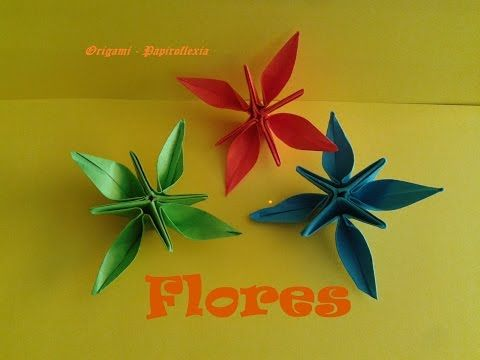 Origami - Papiroflexia. Flores de cuatro pétalos - YouTube