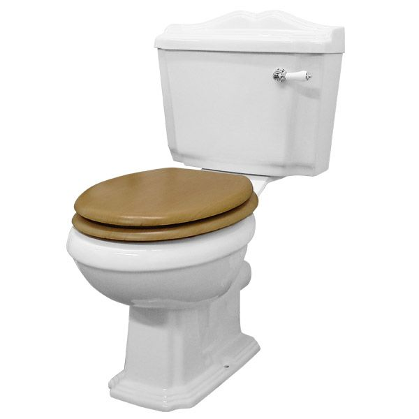 Winchester Close Coupled Traditional Toilet with Beech Toilet Seat at Victorian Plumbing UK