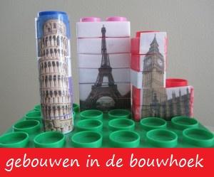 (Net) echte gebouwen. Toren van Pisa, Eiffeltoren en Big Ben.