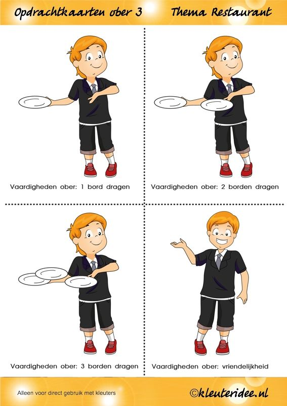 Haal je oberdiploma: Opdrachtkaarten ober(opleiding) voor kleuters, thema restaurant, kleuteridee