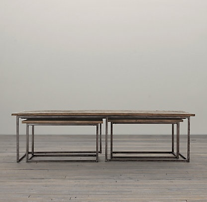 Rustic Table With 2 Smaller Tables That Pull Out For End Tables   Restoration  Hardware