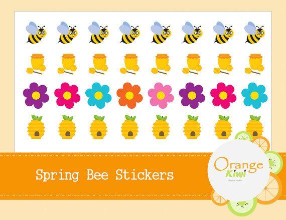 Spring Bee Stickers  Spring Planner Stickers by OrangeKiwiDesign