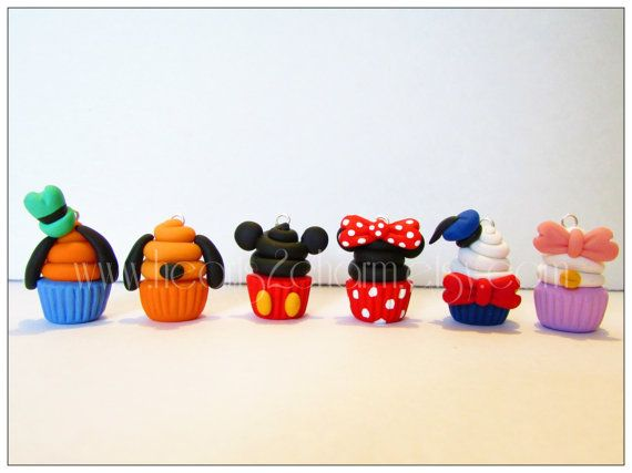 Disney Cupcake Charms. Handmade Polymer Clay Cupcake Charm. Use as Pendant, Charm Bracelet, Earrings. Collect them all.