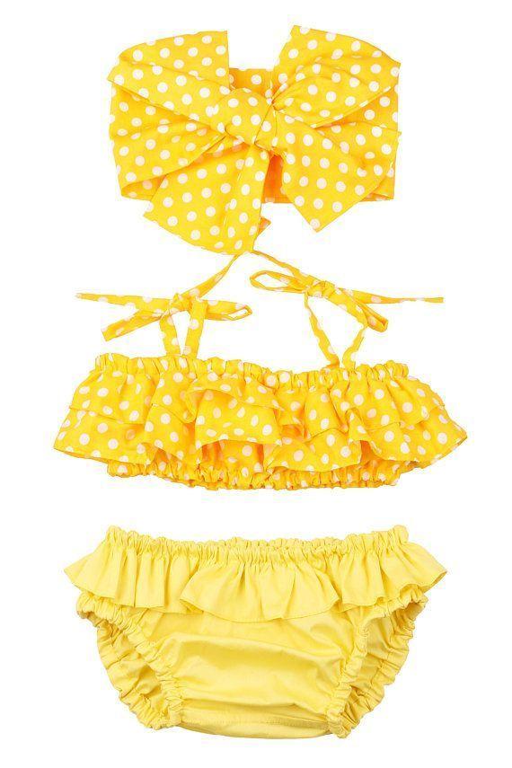 Badeanzug für Mädchen 3 Monate – 12 Jahre. Gelb – Baby 0-24m – # 024m #Baby #Mädchen #M …   – Children's Bikini