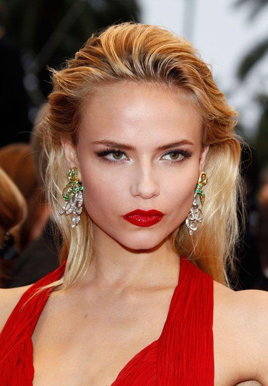 Natasha Poly / Louise gold, diamond and emerald earrings by Boucheron