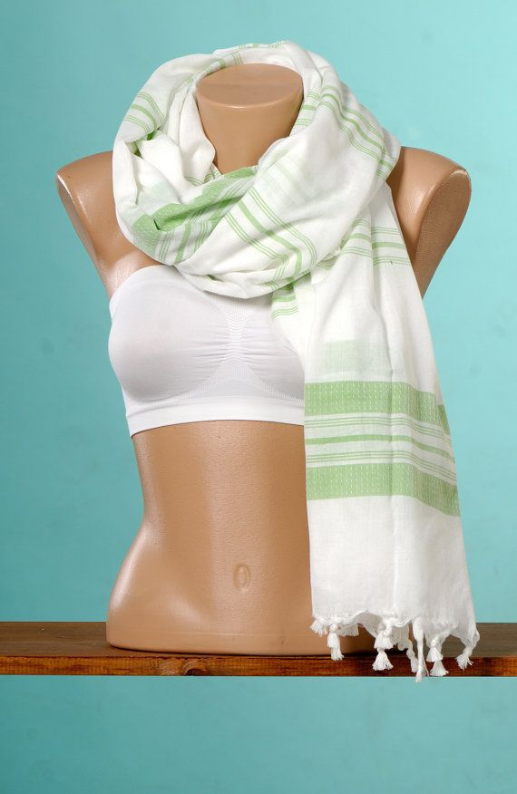PAREO Bleached White BackGround And Green Striped by TowelsWorld, $15.00
