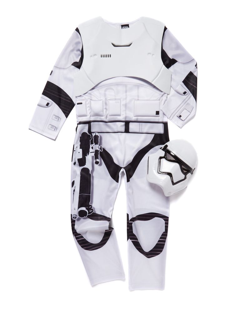 They'll have so much fun dressing up in this Star Wars Storm Trooper costume. Featuring a felt bodice and a mask, this costume comes with sound effects for a playful finish.   White Star Wars Storm Trooper costume Padded chest Long sleeves Velcro fastening Plastic face mask Keep away from fire