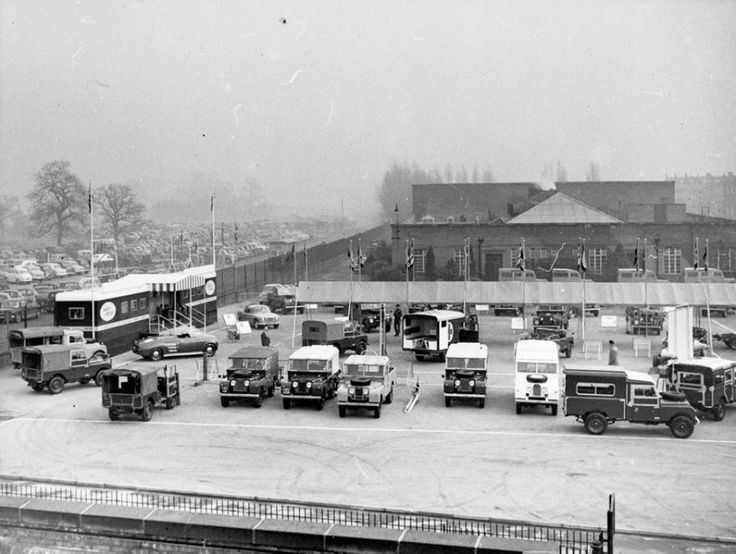 The 1957 Land Rover Nato show. Held in Block 1 car park at Solihull!! This image is looking east down Valiant way across Block 17 and the canteen.