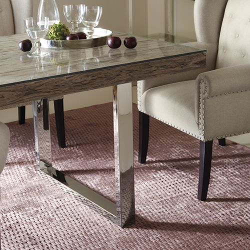 Bernhardt Interiors | Henley Dining Table, Cerused Teak In Grey Pearl  Finish, Mirror Polished