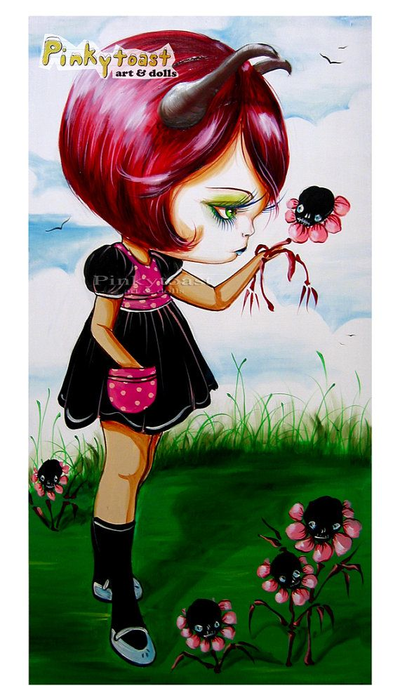 Little Devil and her Fairy Tale GardenBig Eye by pinkytoast, $13.00