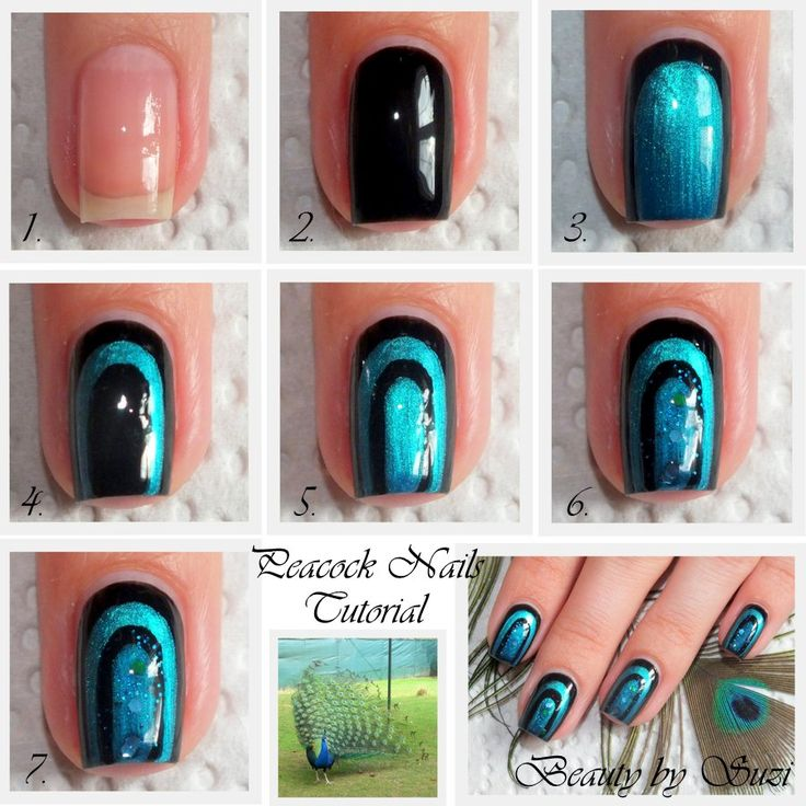 2251 best unique nail art images on pinterest clothing blue peacock nail design tutorial prinsesfo Images