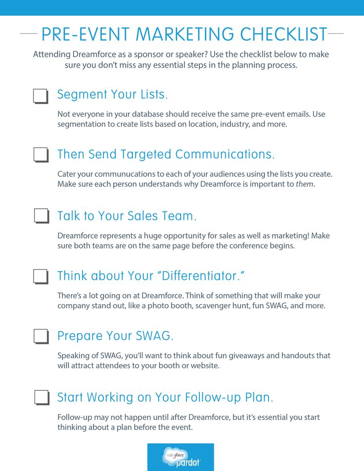pre event marketing checklist marketers use this checklist to plan for df14 or another b2b. Black Bedroom Furniture Sets. Home Design Ideas