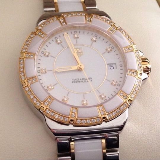 Gold TAG Heuer formula 1 watch with 95 pure diamonds