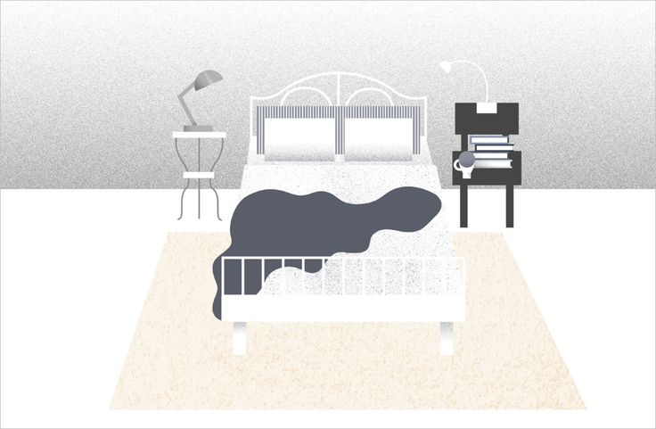 Illustration d'un lit placé contre un mur et posé sur un grand tapis de couleur crème.