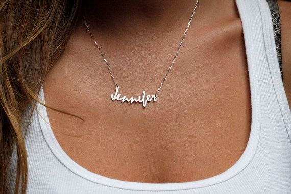 I want something like this but in gold. Put my name in Arabic (دنيس) and this is the perfect accessory!!!! Personalized Name Necklace, Jennifer necklace, Trendy necklace, Name Plate Necklace, Script Necklace, Bridesmaid jewelry, Gift For Her on Etsy, $58.00