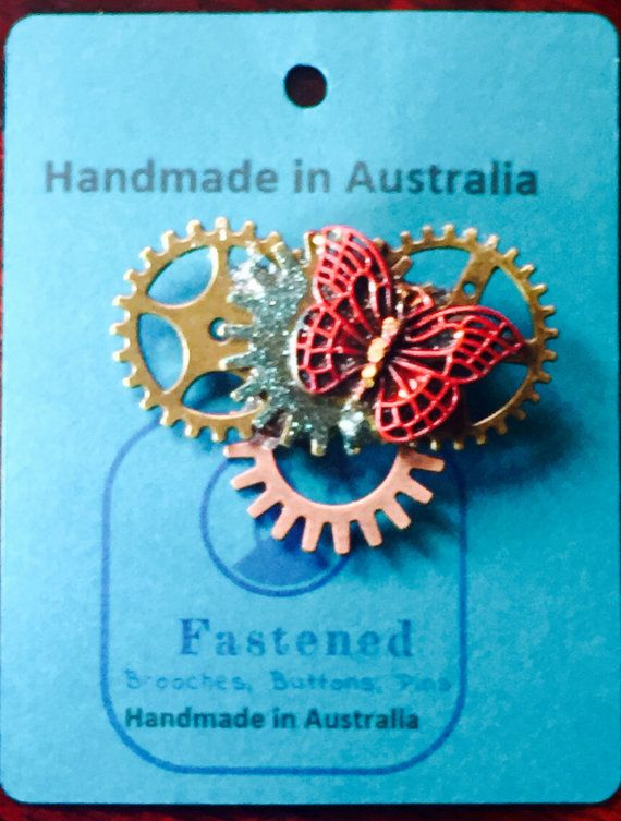 Brooch made in Australia Steampunk COGS and  by FastenedAustralia