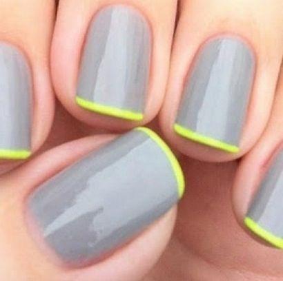 Grijze nagellak met een fluoriserend randje