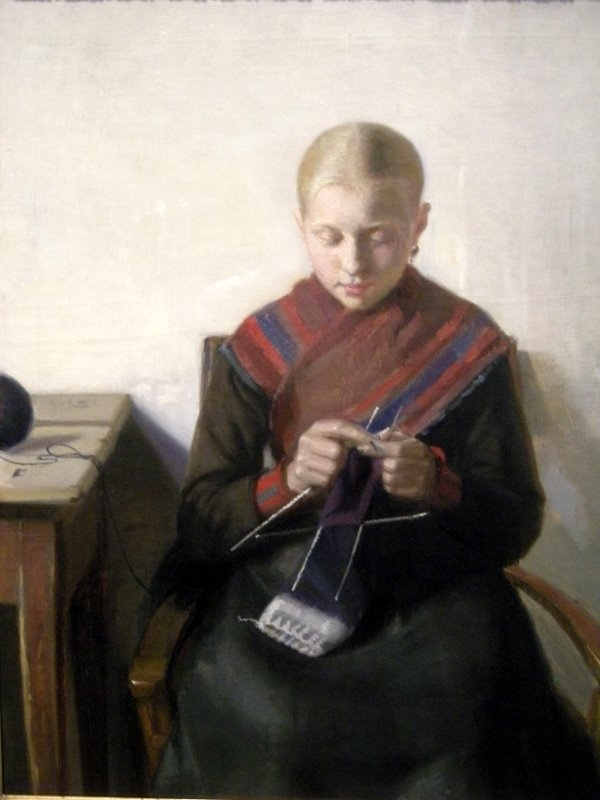 "A Young Fisher Girl Knitting, Maren Brems by Michael Ancher (1849 - 1927) ""Ung fiskerpige der strikker"""