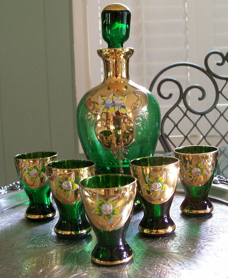 Vintage Czech Bohemian Handpainted Emerald Green Glass Decanter Cordial Set With Gold Gilding and Enamel Flowers. Moser. $265.00, via Etsy.