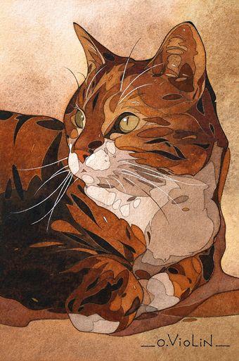 aquarelle dessin paysage marine voilier pin up chaton bretagne
