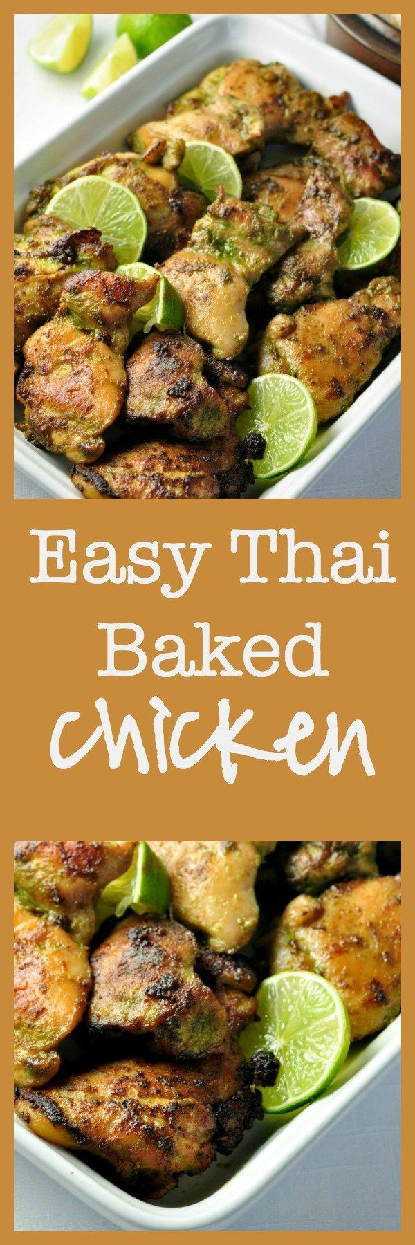 Easy Thai Baked Chicken. An easy make-ahead meal for busy nights. Cilantro, jalapeño, ginger, basil, garlic and coriander all play together to produce this aromatic, slightly spicy chicken dish that leaves you wanting more.