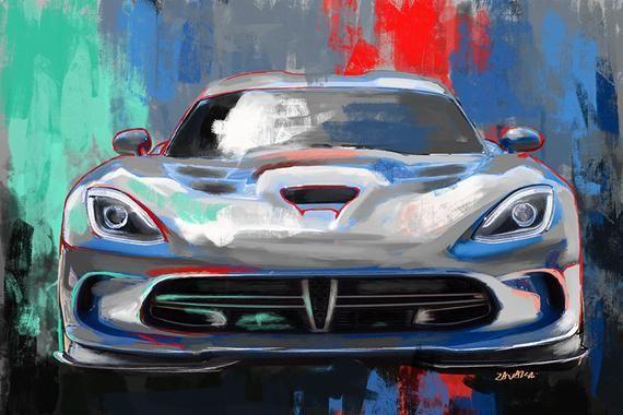 Print Watercolour Dodge Viper