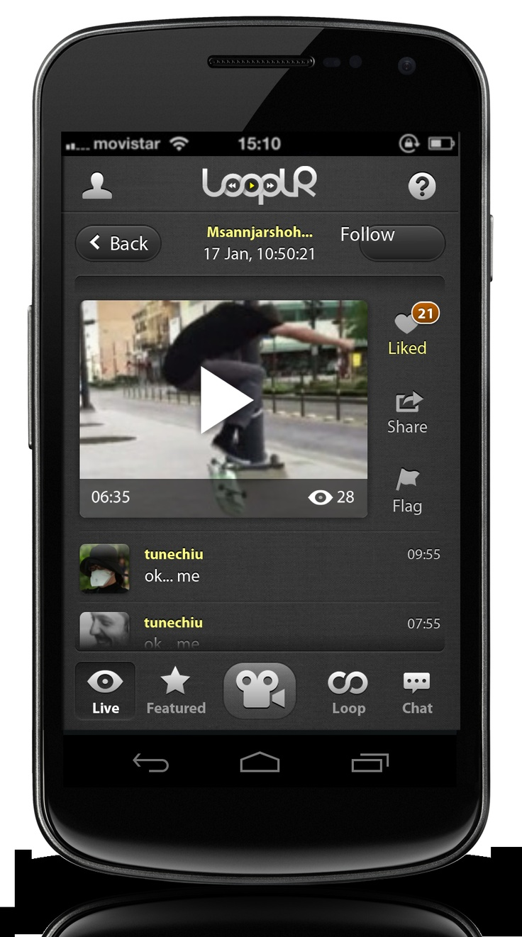Looplr Video Page Screenshot.  Get the Looplr App Now  www.looplr.com