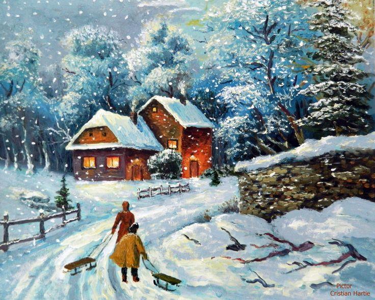 Iarna in sat 16 noiembrie 2017 50 x 60 cm / ulei pe panza Pictor, Cristian Hartie www.cristianhartie.wordpress.com