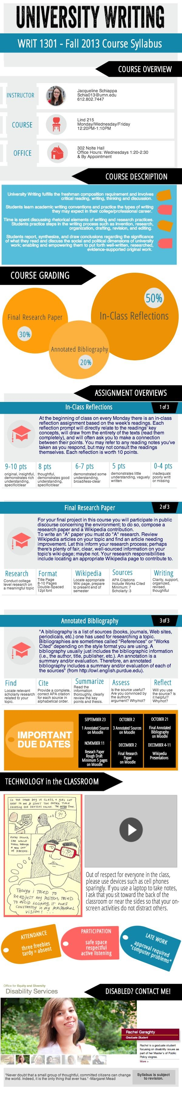 #infographic WRIT 1301 Fall 2013 Course Syllabus | Made in @Piktochart