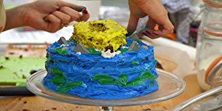 "Made by Victoria Coren Mitchell for the showstopper round of 'The Great Sport Relief Bake Off (2012)', Victoria described it as having ""a light tang of beach holidays as you bite into a slice of the sea""... but she looked fairly heavy handed with the salt to me. In case you can't tell, it represents a boat on the ocean and the salt was intended to make it taste of, as well as look like, the sea."