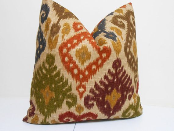 Red Green And Blue Throw Pillows : Red- Purple- Green- Blue - Brown Ikat Pillow Cover- Dualee Ikat Fabric- Designer Pilllow Cover ...