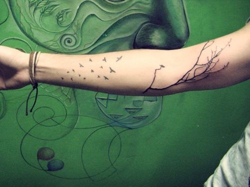 fuck yeah, tattoos! — mine vein/tree branch with birds tattoo